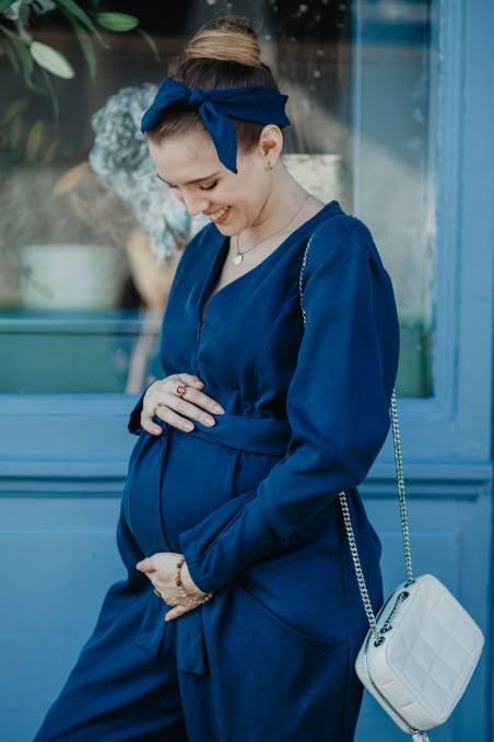 """Combinaison """"Alba"""" de grossesse et d'allaitement en tencel (bleu marine)"""